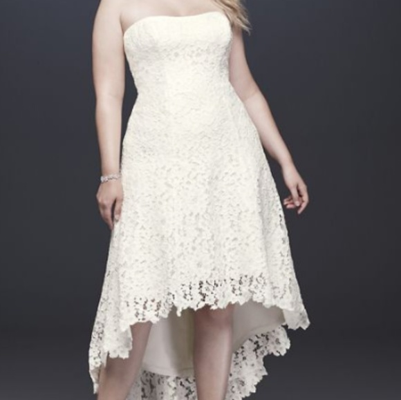 High-Low Tea-Length Lace Plus Size Wedding Dress NWT